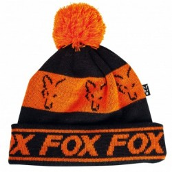 Bonnet FOX Black/Orange Pompon