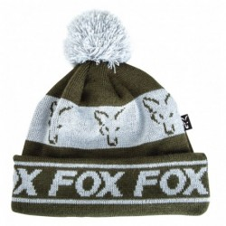 Bonnet FOX Green/Silver Pompon
